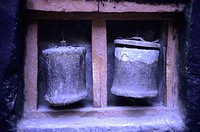 Old leather prayer wheels. Alchi, Ladakh, India