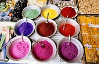 Henna powder of many colours, India