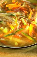 Julienne vegetable soup stock