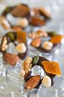 Chocolate mendiants - Wallnut, almond, hazelnut, preserved orange peel