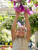 Girl reaching for hanging basket