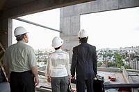 Businesspeople standing in construction area