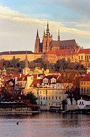 Prague Castle, Vltava River. Mala Strana area. Prague. Bohemia. Czech Republic