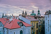 Old Town rooftops, towers of St. Nicholas (r.) and Our Lady Before Tyn (l.) churches. Prague. Bohemia. Czech Republic