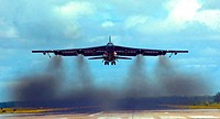 A B-52 Stratofortress takes off Wednesday, April 13, 2006, from a forward operating location in Southwest Asia. The B-52s are seeing increased operati...