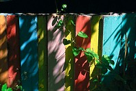 Photograph of colorful wooden fence