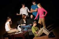 Group of teens having an intervention