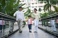 Family walking on bridge together