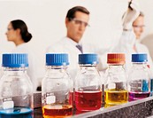 Jars in laboratory, three scientists working in background