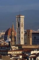 Italy, Tuscany, Florence, Cathedral Basilica di Santa Maria del Fiore, Campanile Tower