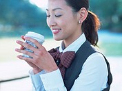 Business woman having coffee break
