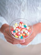 Jellybeans in galss bowl