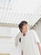 Teenageboy arriving school