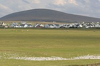 Golf course in front of houses on rural landscape, Achill Island, Republic of Ireland