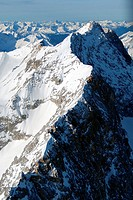 Aerial view of snow_capped mountains, Bavarian Alps, Bavaria, Germany