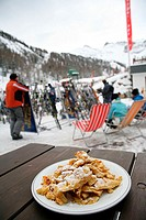 Kaiserschmarrn Chimneys Court Plate Sweetening Food sweet mountains Tracing Skiing Snowboarden winter sport Vacation winter vacation icing sugar lunch...