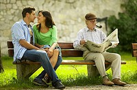 bank affection in love cosiness congenial date feeling woman Germany girls grandpa notify joy leisure time love of life courting couple succeed man hi...