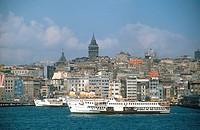 Cruise ship at harbor, Istanbul, Turkey
