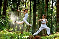 View of young women exercising in a forest