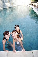 View of teenage girls in a swimming pool