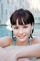 Close-up of a teenage girl in a swimming pool