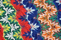 Close-up of a floral pattern on a woolen fabric