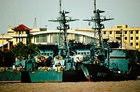 Communication towers on warships, Shanghai, China