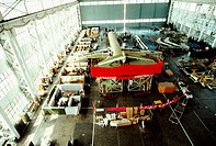 High angle view of a passenger craft in an airplane factory, Shanghai, China
