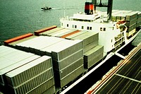 Containers on a ship at a port, Hong Kong, China