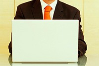 Mid section view of a businessman using a laptop