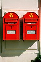Close-up of two mailboxes on the wall, Copenhagen, Denmark