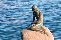 High angle view of a statue, Little Mermaid, Copenhagen, Denmark