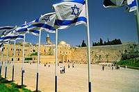 Israeli flags at a shrine and a dome in the background, Wailing Wall, Dome Of The Rock, Jerusalem, Israel
