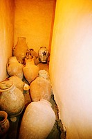 Ancient pottery in a church, Canal, Galilee, Israel