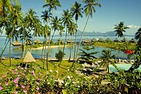 High angle view of a stilt house, Bure Hut Hotel, Papeete, Tahiti, Society Islands, French Polynesia