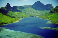 High angle view of a bay, Cooks Bay, Moorea, Society Islands, French Polynesia