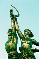 Low angle view of statues, Statue Of Farm Workers, Moscow, Russia