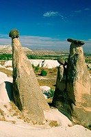 Rock formations on a landscape, Fairy Chimneys, Cappadocia, Turkey