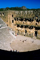 High angle view of tourists in an amphitheater, Aspendos, Turkey