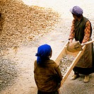 High angle view of two female manual workers carrying a wooden container, Yarlung Valley, Tibet, China