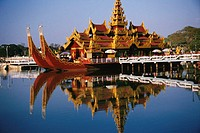 Palace on a barge in a lake, Mandalay, Myanmar (thumbnail)