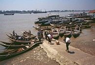 High angle view of rowboats moored in a river, Irrawaddy River, Yangon, Myanmar
