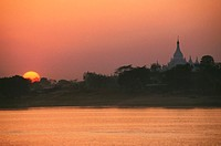 Sunset over a river, Ayeyarwady River, Sagaing, Myanmar