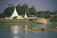 Pagoda along a river, Ayeyarwady river, Myanmar
