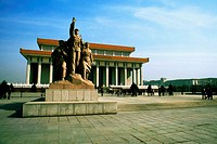 Statues in front of a building, Beijing, China