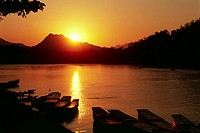 laos, luang prabang, mekong river, sunset