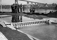 usa, columbia river, model of bonneville dam, 1936