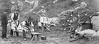 scalpo delle corna di stambecco, battuta di caccia, val d´aosta 1910 ca.