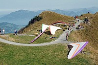 europe, switzerland, luzern, stans, hang gliding, stanserhorn mount