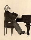 Johannes Brahms 1833-1897 German composer, at the piano  Halftone